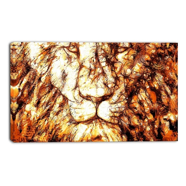 Design Art 'Wisdom in His Eyes' Lion Canvas Art Print - 40x20 Inches