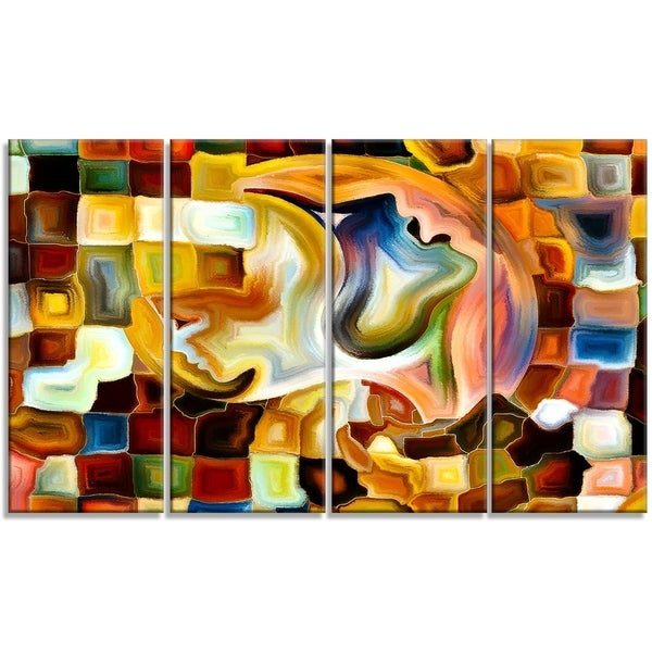 Designart - Way of Inner Paint -4 Panels Abstract Canvas Art Print