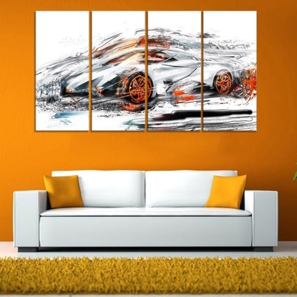 Modern Super Car' 4-piece Gallery-wrapped Canvas