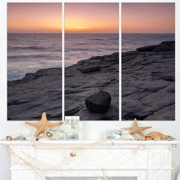 Massive Rock on Beach Magoito Sintra - Contemporary Seascape Art Canvas