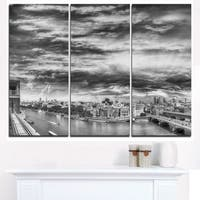 Black and White Panoramic London - Cityscape Canvas print