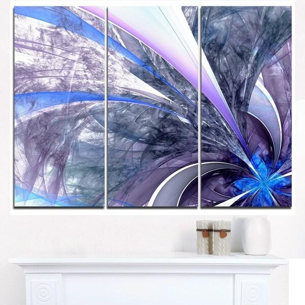 Bright Blue Fractal Flower Design - Modern Floral Canvas Wall Art