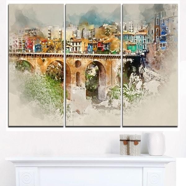 Villajoyosa City Digital Art Bridge - Cityscape Artwork Canvas