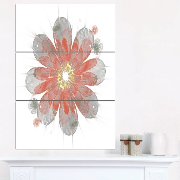 Simple Red and White Fractal Flower - Floral Canvas Artwork Print