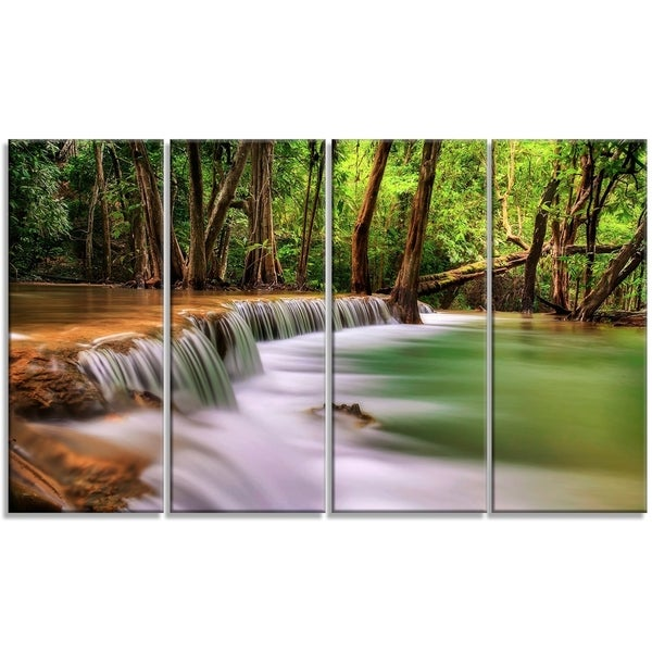 Designart - Secodn Level Erawan Waterfall - 4 Panels Photography Canvas Print