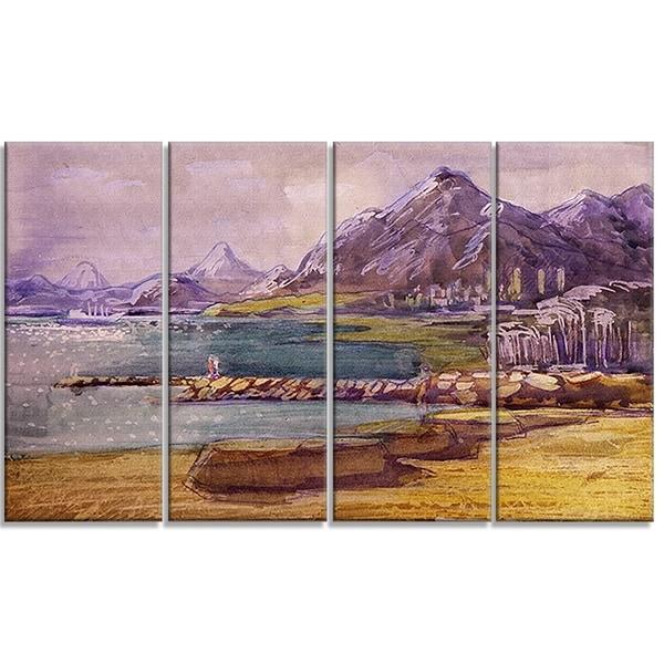 Designart - Purple Hills - 4 Piece Landscape Canvas Art Print