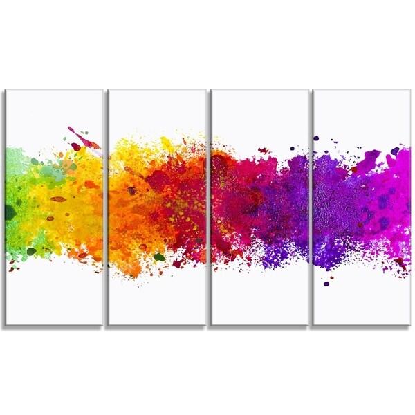 Designart - Artistic Watercolor Splash -4 Panels Abstract Canvas Artwork