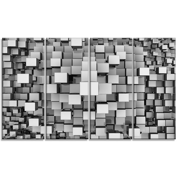 Designart - Black and Grey Cubes -4 Panels Contemporary Canvas Art Print