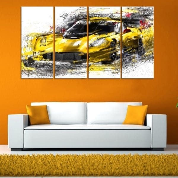 Black and Yellow Speedster' 4-piece Gallery-wrapped Canvas
