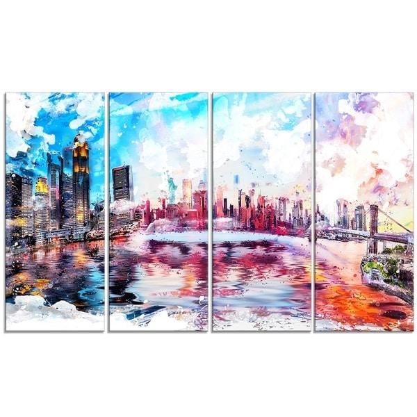 Design Art- Colorfull NYC Cityscape- Canvas Art