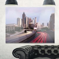 Atlanta Georgia Rush Hour Traffic at Dusk - Cityscape Glossy Metal Wall Art