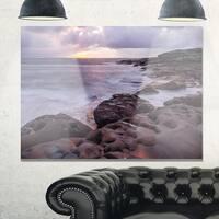 Dark Australian Seashore with Large Rocks - Large Seashore Glossy Metal Wall Art