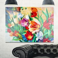 Bouquet of Colorful Flowers - Large Floral Glossy Metal Wall Art