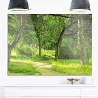 Green Forest Path in Early Summer - Landscape Photo Glossy Metal Wall Art