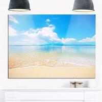 Large Clouds Over Calm Beach - Seashore Photo Glossy Metal Wall Art