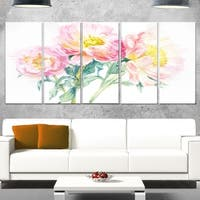 Designart 'Bouquet of Pink Peony Watercolor' Flower Glossy Metal Wall Art