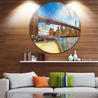 Designart 'Bridge Park Brooklyn' Cityscape Photography Large Disc Metal Wall art