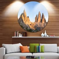 Designart 'Tre Cime and Monte Paterno at Sunset' Landscape Round Metal Wall Art