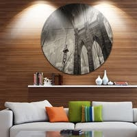 Designart 'Upward View of Brooklyn Bridge' Cityscape Photo Disc Metal Artwork