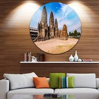 Designart 'Ancient Temple in Thailand Panorama' Modern Seascape Disc Metal Artwork