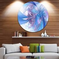 Designart 'Light Blue and Purple Fractal Flower' Modern Floral Round Metal Wall Art