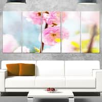 Designart 'Almond Tree Pink Flowers' Large Flower Glossy Metal Wall Art