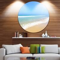 Designart 'Sun Over Tropical Beach' Seashore Photo Round Wall Art