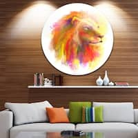 Designart 'Lion with Colorful Mane' Animal Painting Round Wall Art