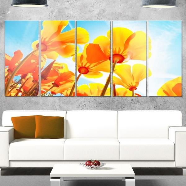 Shop Designart \'Yellow Spring Flowers on Blue\' Modern Floral Glossy ...