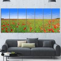 Designart 'Poppy Meadow Panorama' Landscape Artwork Glossy Metal Wall Art
