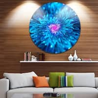 Designart 'Magical Blue Glowing Flower' Floral Digital Art Disc Metal Wall Art