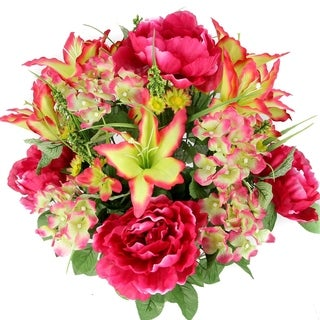24 Stem Faux Tiger Lily, Peony Mixed Flower Bush