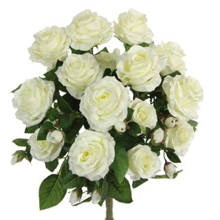 5 Stems Faux Rose and Rose Bud Flower Bush