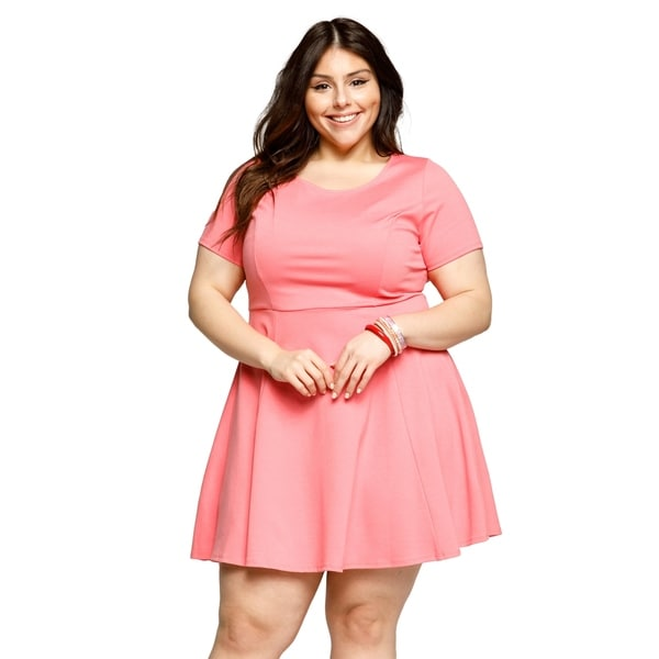 b0be914cb7a Shop Xehar Womens Plus Size Casual Sexy Fit Flare Short Mini Skater ...