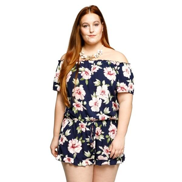 3e384b9d152 Shop Xehar Womens Plus Size Off Shoulder Sexy Floral Short Romper ...