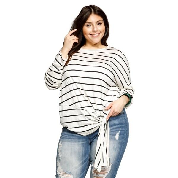 6429ecc64a92 Xehar Womens Plus Size Casual Lightweight Stripe Knit Dolman Shirt Top