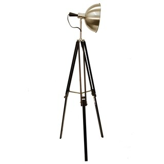 Beckman Brown and Silver Tripod Floor Lamp