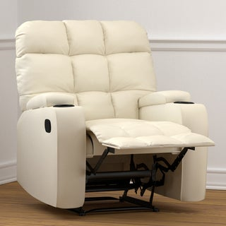 Clay Alder Home Klingle Cream Renu Leather Storage Recliner Chair
