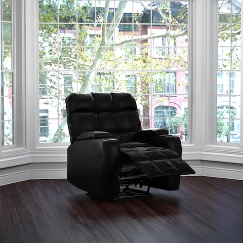 ProLounger Power Wall Hugger Storage Recliner Chair-Black Renu Leather