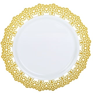 "Decorative Plastic Dinnerware 10"" Inch Round Dinner Party Plates Gold Lace Rim (48 Pack)"