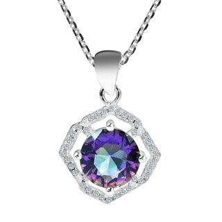 Luminous Mystic Topaz Cubic Zirconia Accents Sterling Silver Necklace