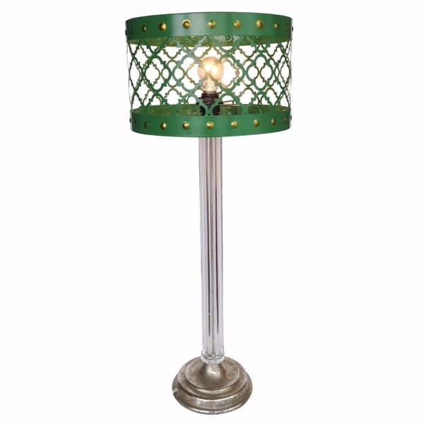 Elegantly Striking Metal Cutout Table Lamp, Green