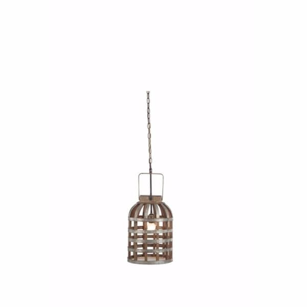 Exquisite Metal and Wood Hanging Lamp, Brown and Silver