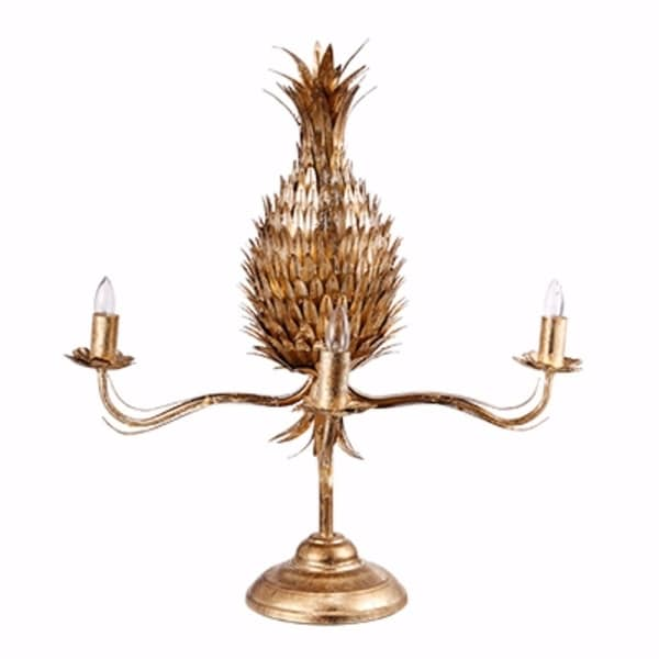 Contemporary Style Iron Pineapple Table Lamp, Gold
