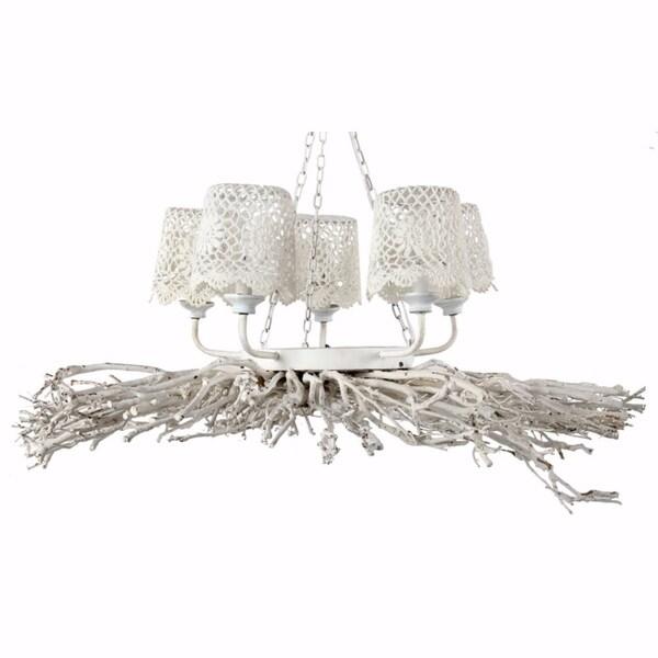 Appealing 5-Light Shaded Chandelier, White