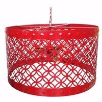 Beautiful Circular Cutout Metal Chandelier, Red