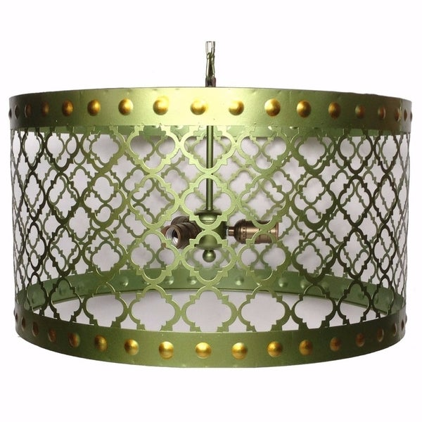 Elegant Drum Shaped Metal Chandelier With Bulb Holders, Green