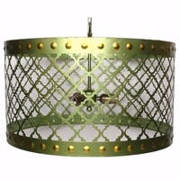 Elegant Drum Shaped Metal Chandelier With Bulb Holders, Green