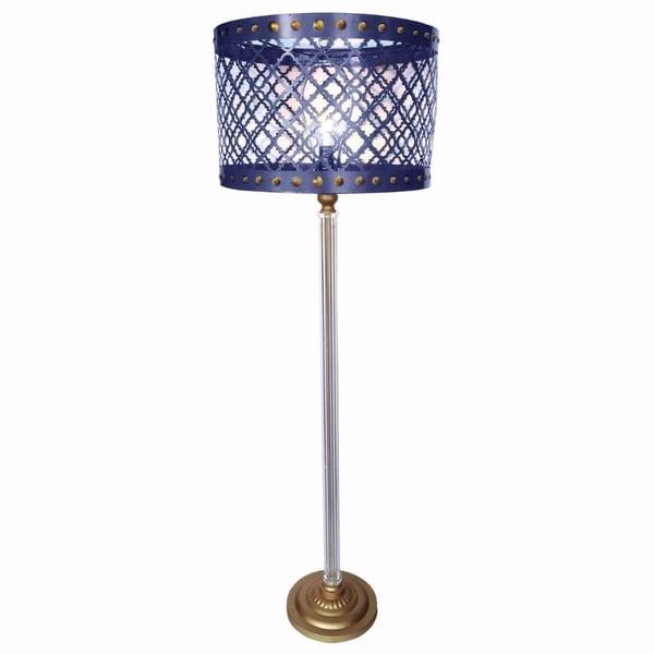 Metal Cutout Drum Shade Floor Lamp , Blue