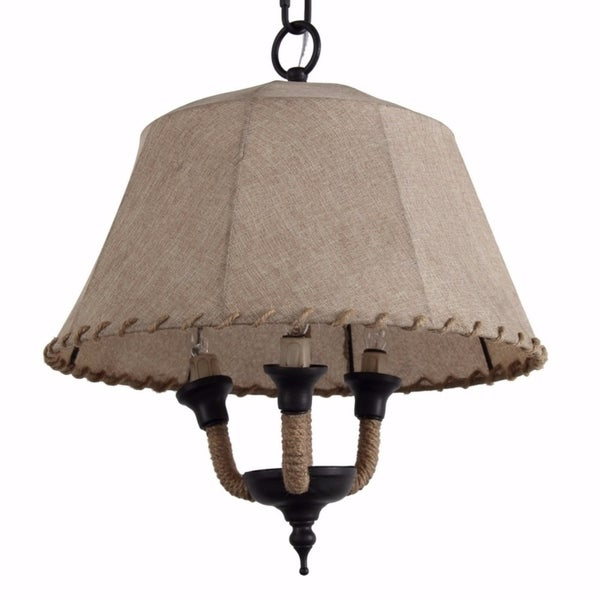 Lamp Shade Style Metal and Rope Chandelier, Brown